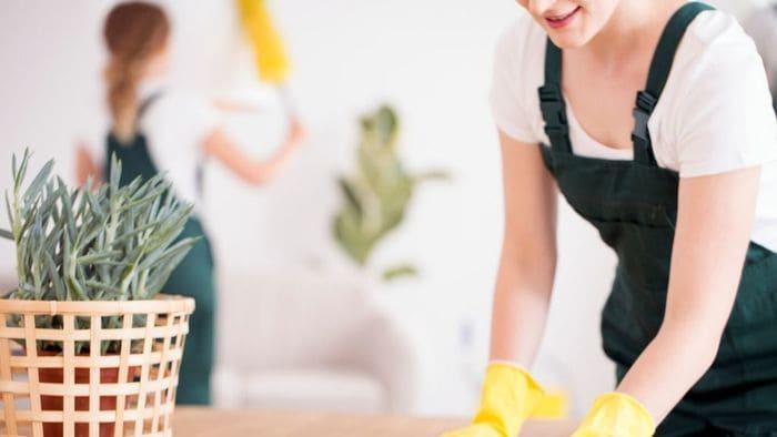 掃除する女性たち
