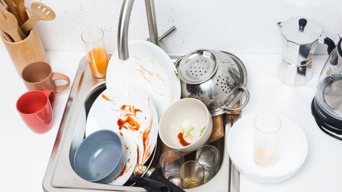 たまった洗い物