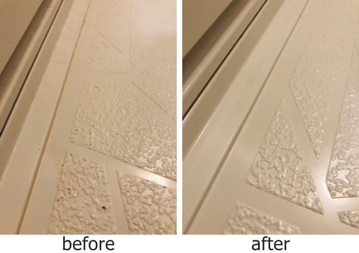 風呂場の床掃除ビフォーアフター