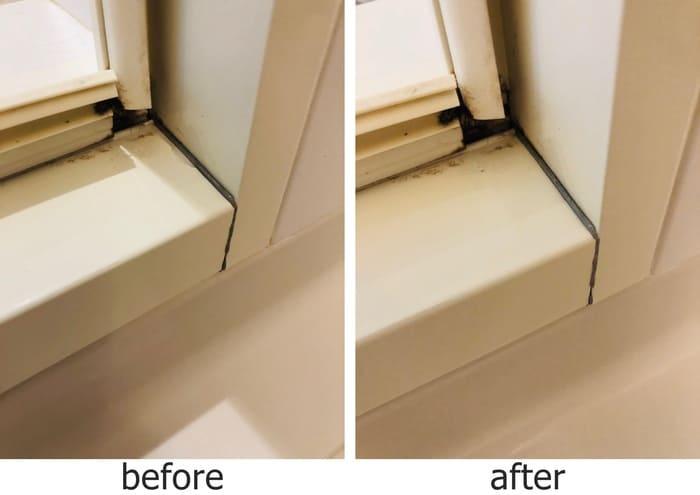 風呂場のドア開閉部分掃除ビフォーアフター