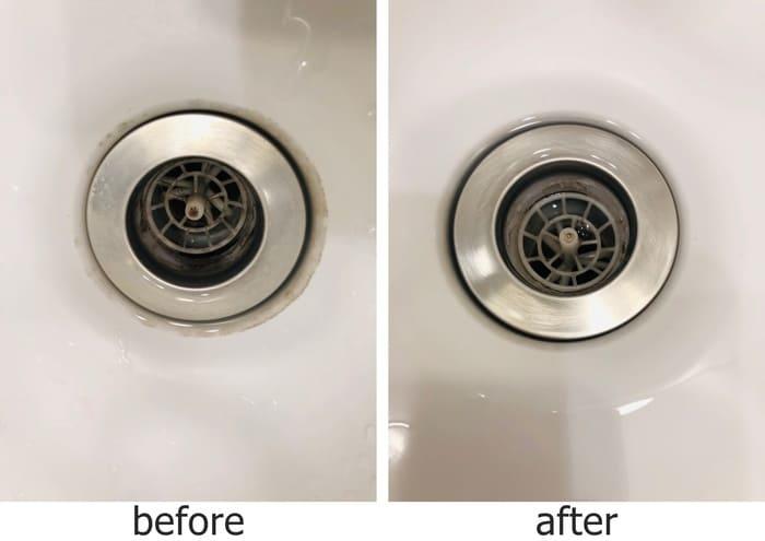 洗面台の排水口掃除ビフォーアフター
