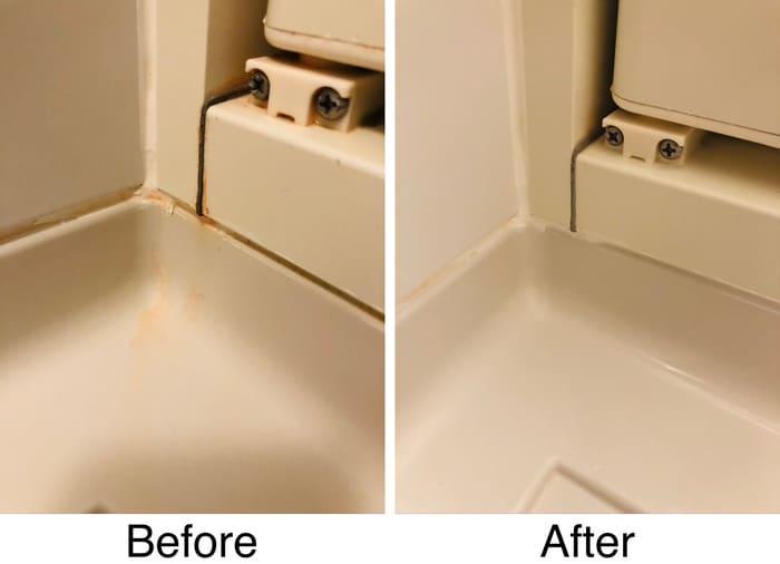 風呂場の開閉部分の汚れ具合