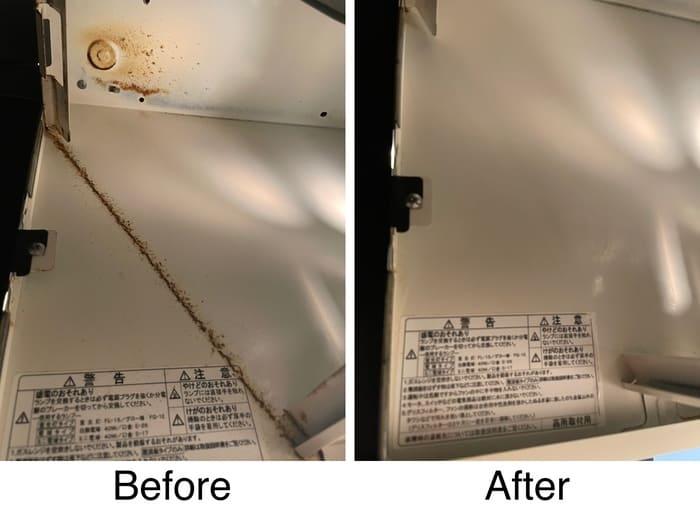 換気扇本体内部掃除のビフォー・アフター
